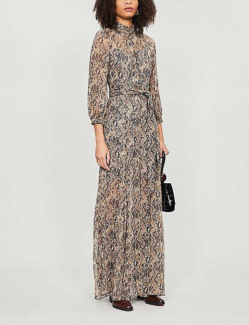 VERONICA BEARD Ascot snakeskin-print silk-blend maxi dress