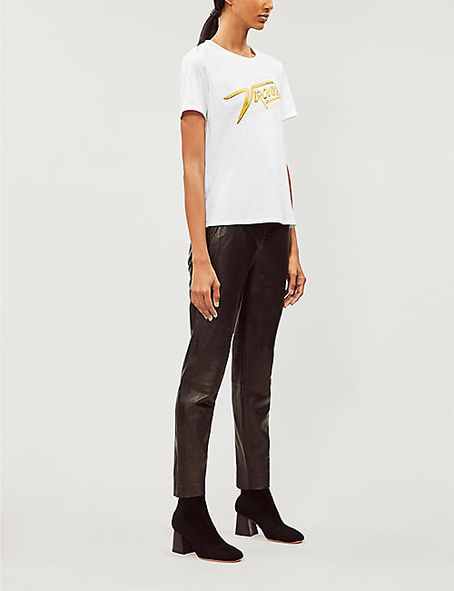 VERONICA BEARD Veronica embellished logo-print cotton-jersey T-shirt