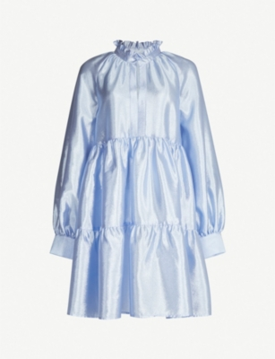 STINE GOYA Jasmine frill-trimmed tiered satin dress