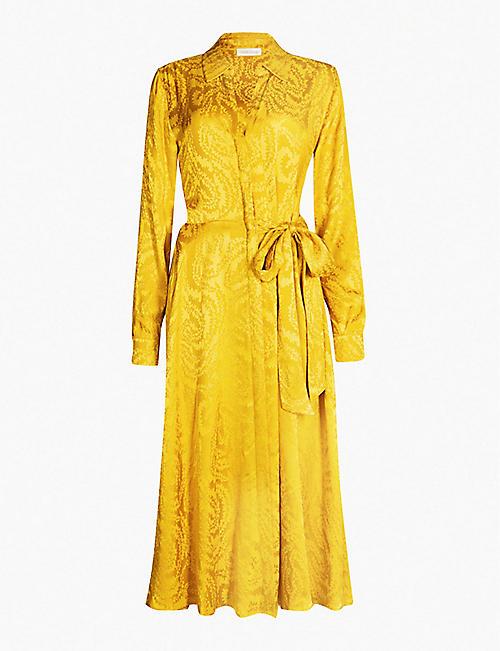 956d8773ac STINE GOYA Baily abstract-pattern waist-tie jacquard dress