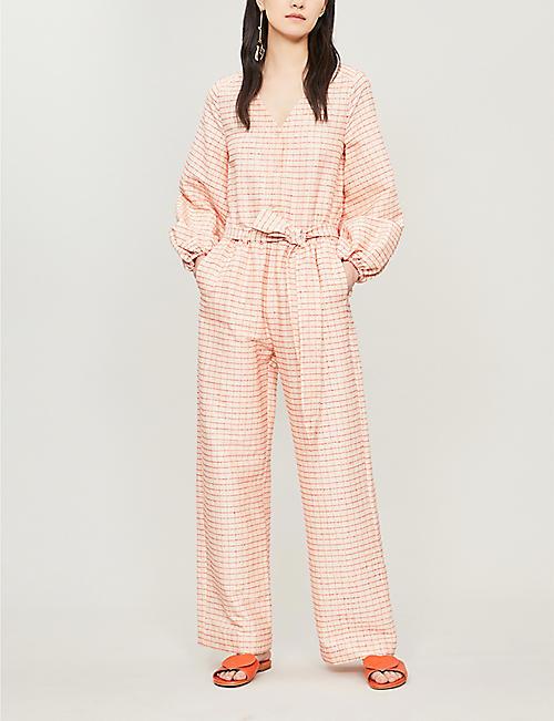 c4750ac2a8b STINE GOYA Beverley checked waist-tie cotton-blend jumpsuit