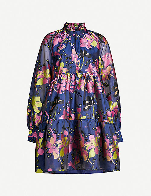 STINE GOYA Jasmine daffodil-print jacquard mini dress