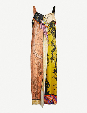 STINE GOYA Talita map-print satin midi dress