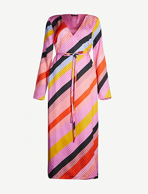 STINE GOYA Paisley striped silk midi wrap dress