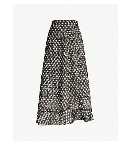 Stine Goya Marigold Metallic Star-print Crepe Midi Skirt In Stars Black