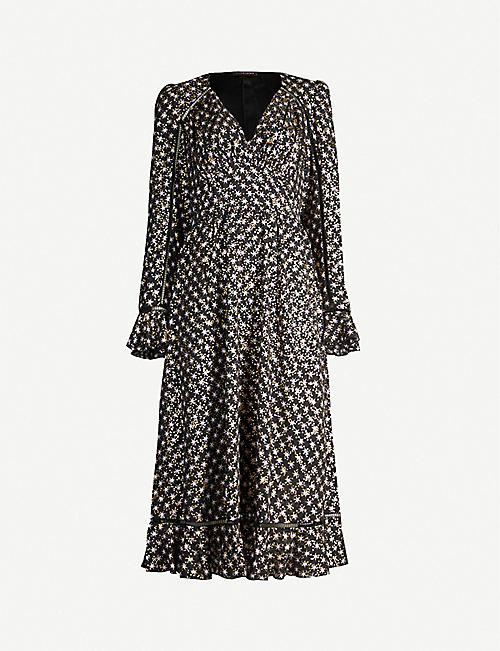 STINE GOYA William metallic star-print crepe midi dress