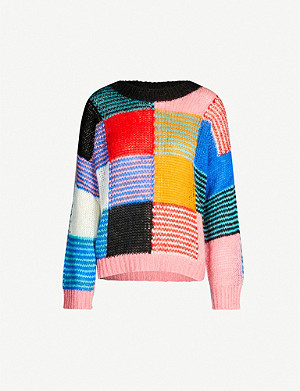 STINE GOYA Sana patchwork-panels mohair-blend jumper