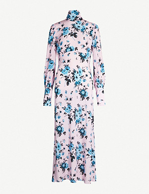 LES REVERIES High-neck flared floral-print silk midi dress