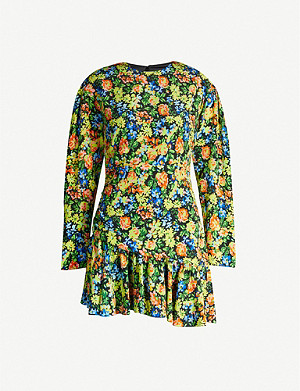LES REVERIES Floral-print silk mini dress