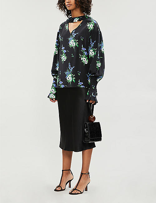LES REVERIES Ruffled-trim gathered-cuff floral-print silk blouse