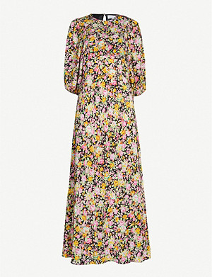 LES REVERIES Puff-sleeve floral-print silk midi dress