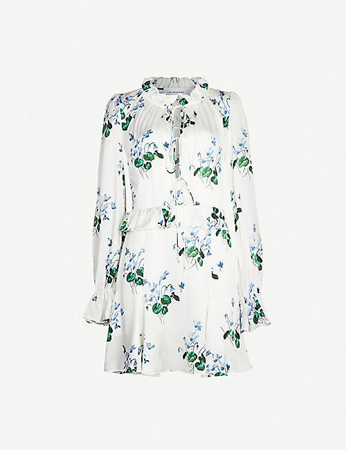 LES REVERIES Flared-cuff lace-up floral-print silk-satin mini dress