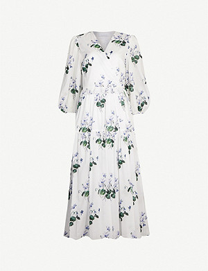 LES REVERIES Puff-sleeve floral-print cotton midi wrap dress