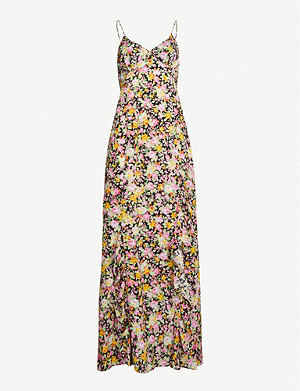 LES REVERIES Floral-print silk crepe de chine maxi dress