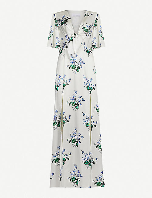 LES REVERIES Split-hem floral-print silk crepe de chine maxi dress