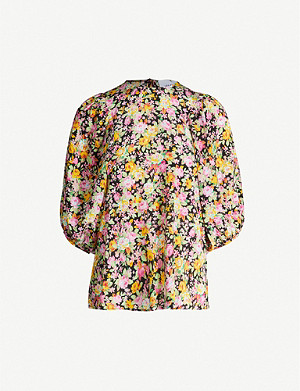 LES REVERIES Puff-sleeve printed silk top