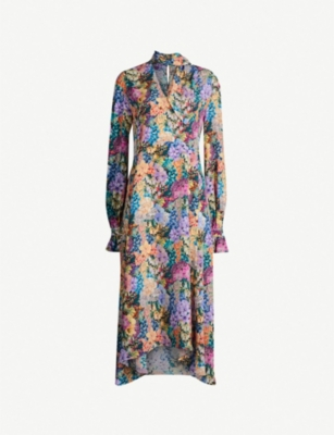 LES REVERIES V-neck floral-print silk-crepe midi dress