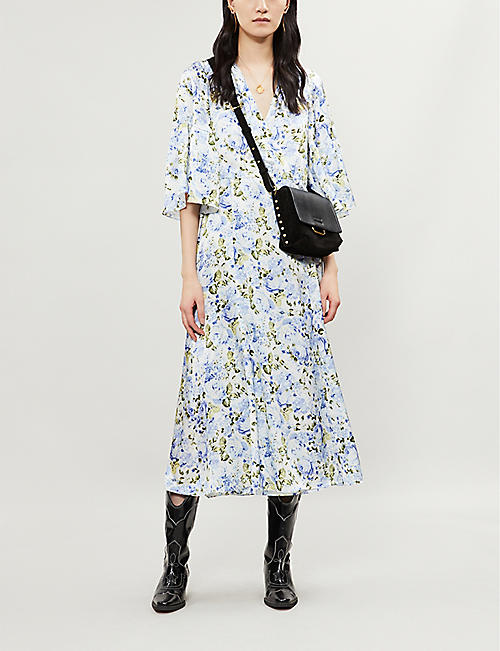 d27f047a2955f LES REVERIES Floral-print silk-satin midi wrap dress