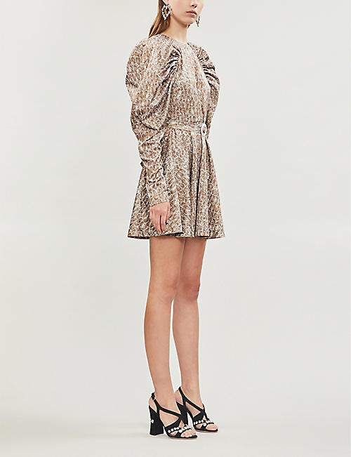 ROTATE BIRGER CHRISTENSEN Snake-print fitted satin mini dress