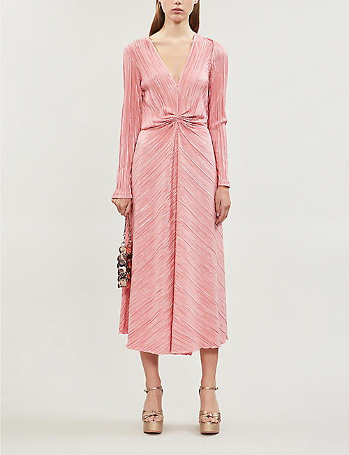 ROTATE BIRGER CHRISTENSEN V-neck pleated midi dress