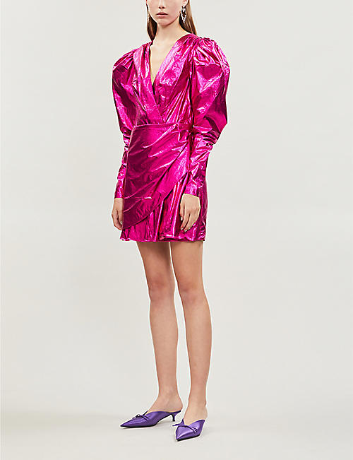 ROTATE BIRGER CHRISTENSEN Metallic puffed sleeve satin mini dress