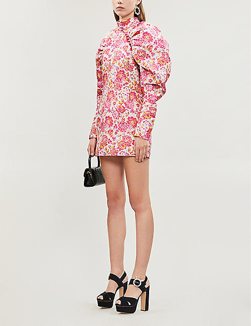 ROTATE BIRGER CHRISTENSEN Floral-print fitted jacquard mini dress