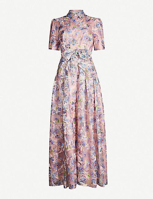 88bf4d0c3c0 OLIVIA RUBIN Flared peony-patterned waist-tie crepe dress