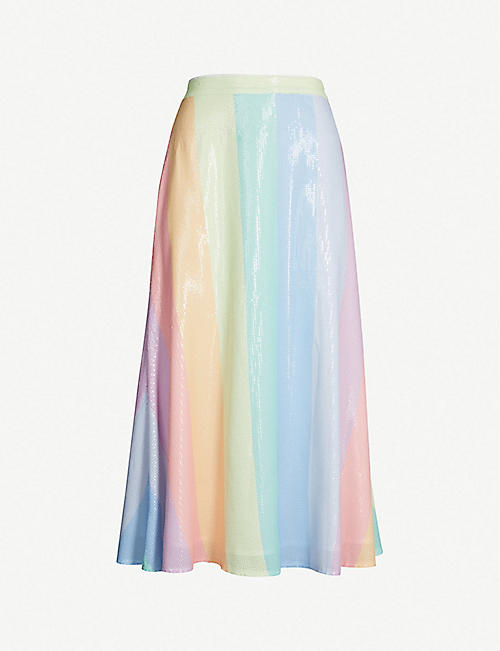 OLIVIA RUBIN Penelope rainbow-striped sequinned skirt