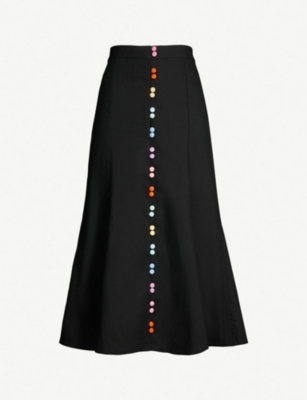 OLIVIA RUBIN Audrey contrast-button flared cotton skirt