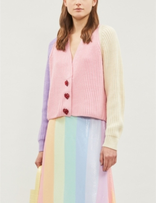 Tally Block Panel Knit Cardigan by Olivia Rubin