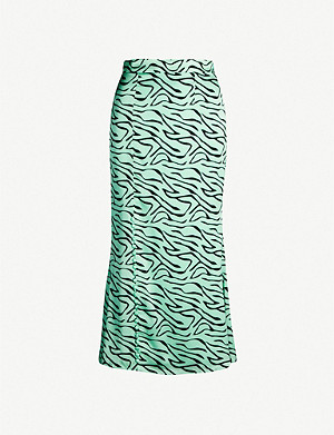 OLIVIA RUBIN Hanna zebra-print high-waisted silk-satin skirt