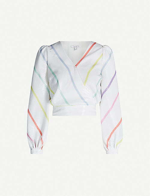OLIVIA RUBIN Kendall balloon-sleeve striped sequinned top
