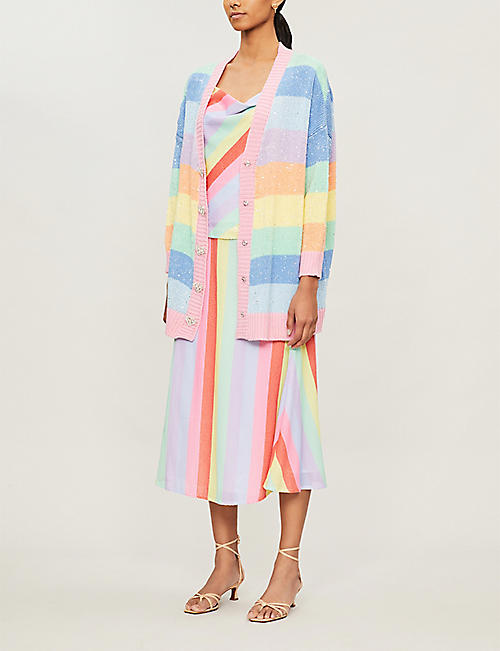 OLIVIA RUBIN Mika striped stretch-knit cardigan