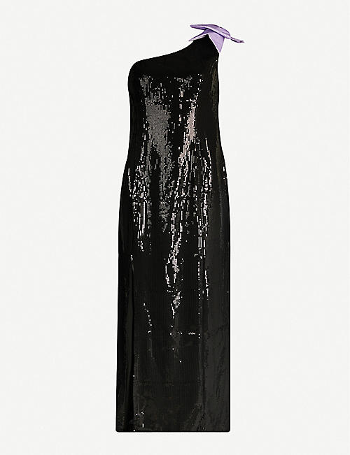 OLIVIA RUBIN Violet one-shoulder sequinned midi dress