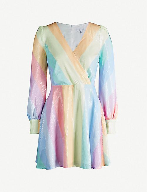 56106bf61f OLIVIA RUBIN Kylie striped sequinned mini dress