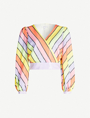 OLIVIA RUBIN Kendall striped sequinned top
