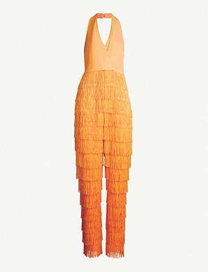 LAVISH ALICE Fringed crepe jumpsuit