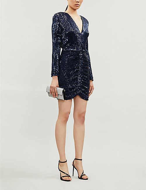 LAVISH ALICE Fitted ruched-panel sequin-embellished mini dress