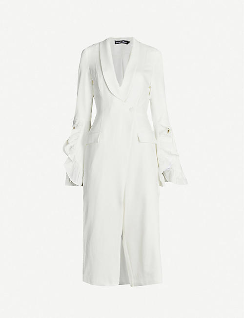 LAVISH ALICE Frilled-trim fitted stretch-woven jumpsuit