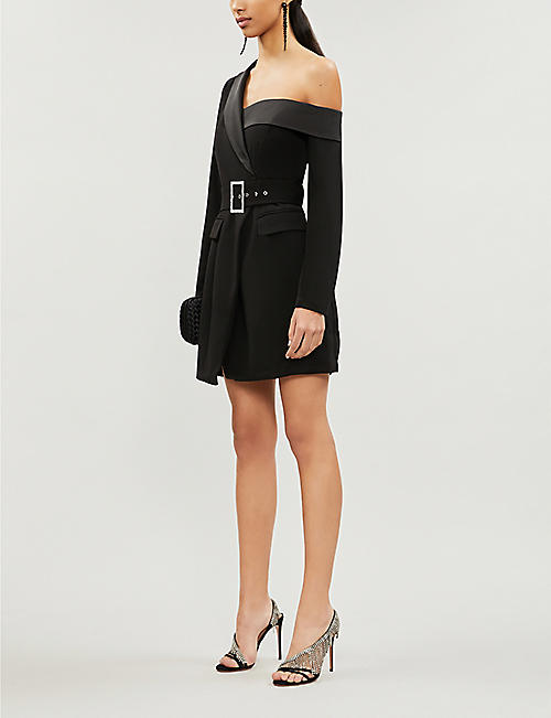LAVISH ALICE Asymmetric belted stretch-crepe mini dress