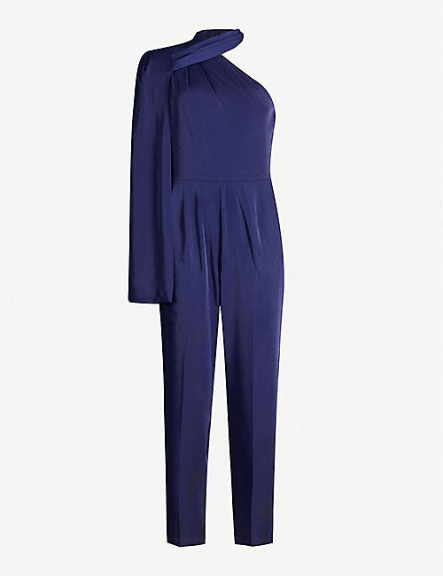 LAVISH ALICE One-shoulder cape-sleeved stretch-crepe jumpsuit