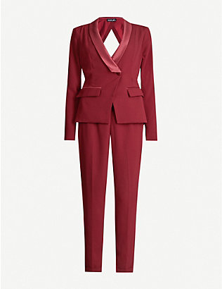LAVISH ALICE: Cutout-back shawl-lapel stretch-crepe jumpsuit