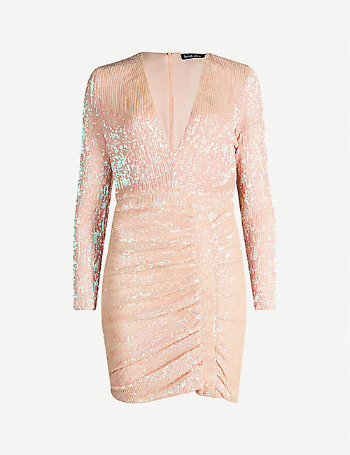 LAVISH ALICE V-neck ruched sequinned dress