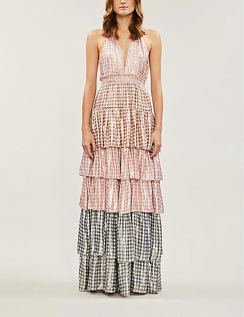 LOVESHACKFANCY Clarissa checked silk-blend maxi dress