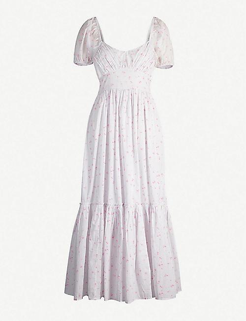 e9630ea4e84 LOVESHACKFANCY Angie puffed-sleeve floral-print cotton midi dress