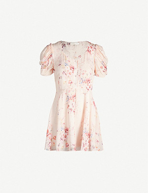 LOVESHACKFANCY Cora floral-print silk-crepe mini dress