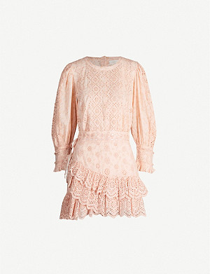 LOVESHACKFANCY Lorelei ruffled broderie anglaise cotton mini dress