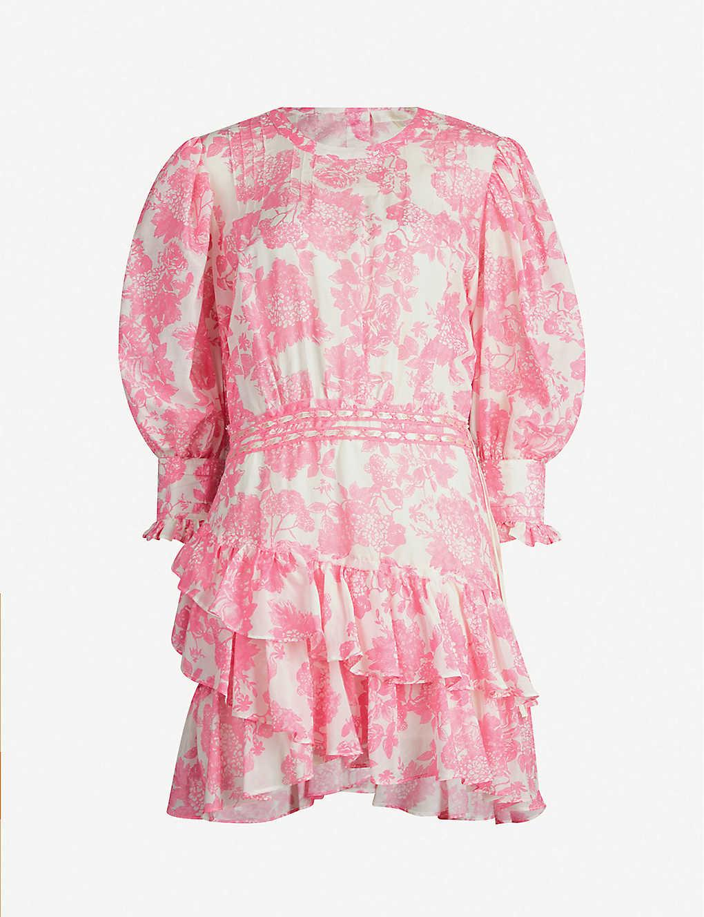 f10d16a947 Lorelei floral-print cotton-and-silk blend mini dress - Pink gem ...