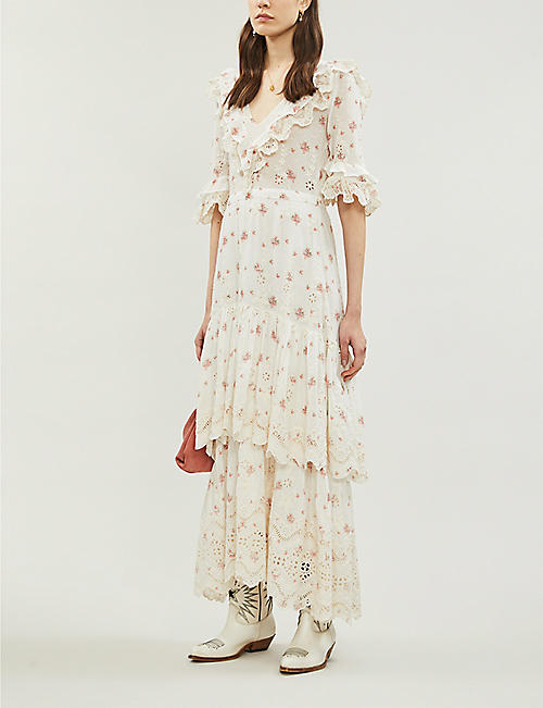 LOVESHACKFANCY Juliette rose-print cotton maxi dress