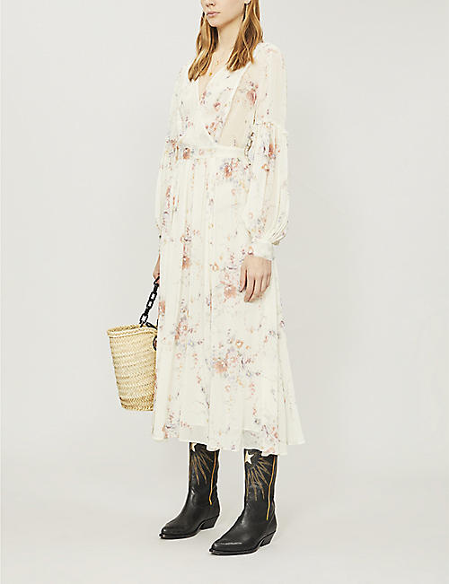 LOVESHACKFANCY Leah ruched floral-print silk-chiffon midi dress